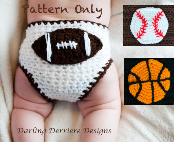 Free Crochet Pattern Football Diaper Cover : Sports Diaper Cover With Baseball, Basketball, And ...