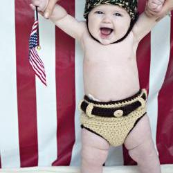 Army Helmet and Khaki Diaper Cover Crochet Pattern