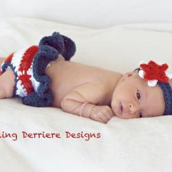 Small American Flag Crochet Pattern : American Flag Diaper Cover And Star Headband Crochet ...