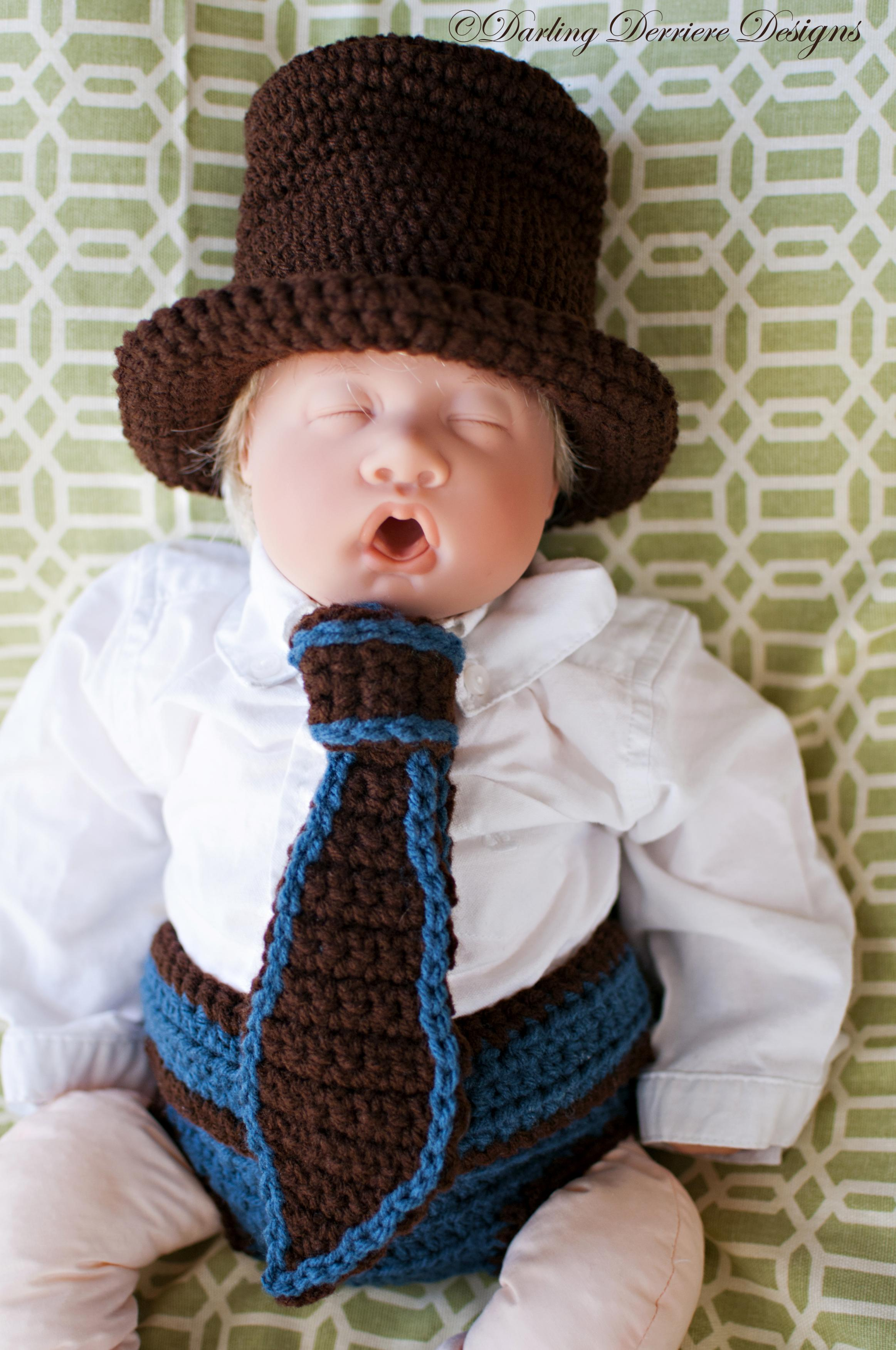 Crochet Pattern Top Hat : Top Hat, Tie, And Button Strap Diaper Cover Crochet ...