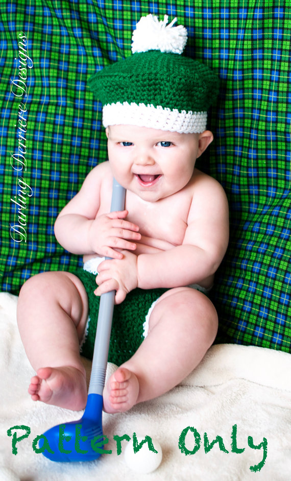 Golf Hat And Diaper Cover Crochet Pattern on Luulla