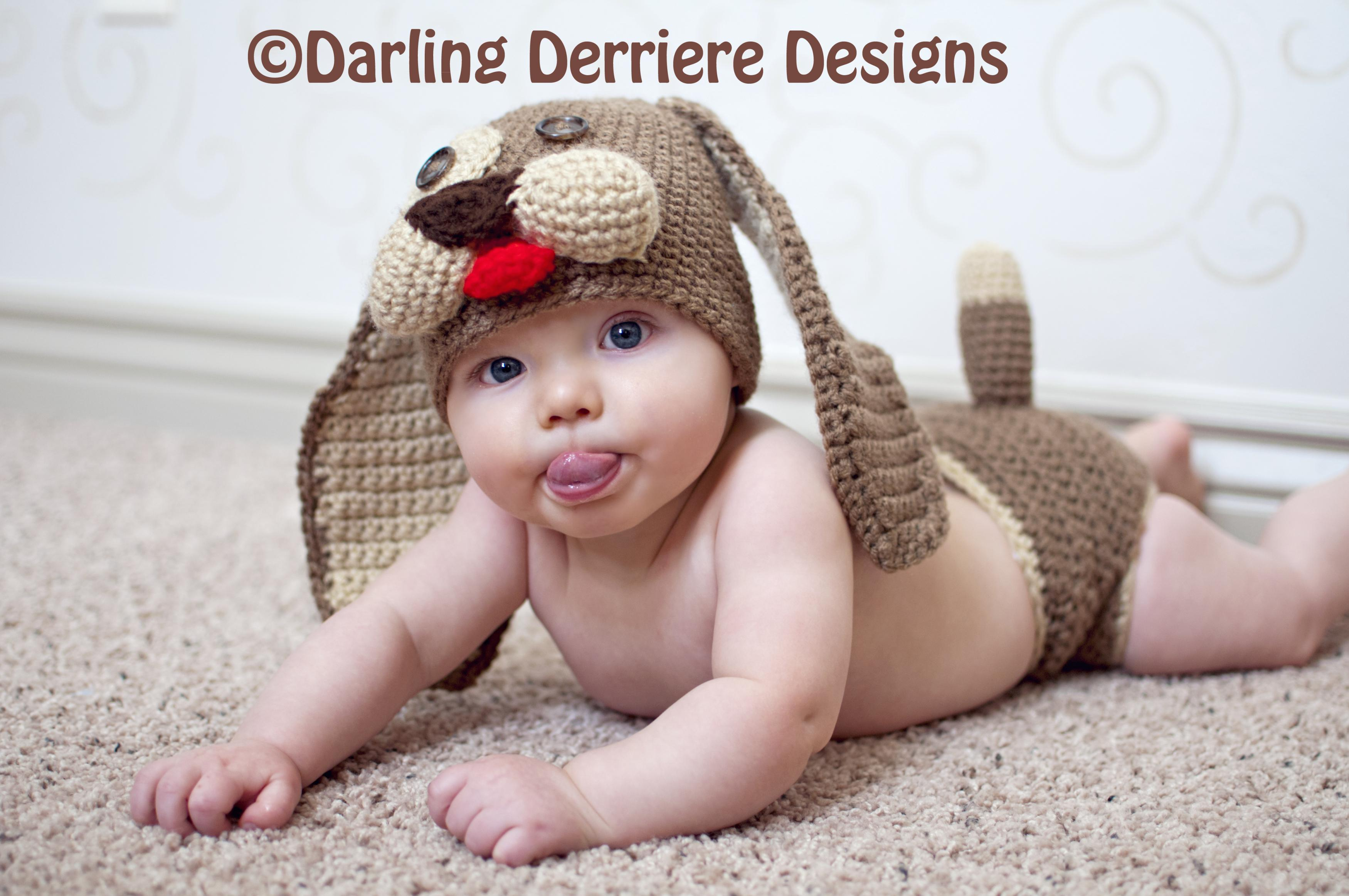 Crochet Patterns For Baby Hats And Diaper Covers : Baby Puppy Hat And Diaper Cover Crochet Pattern PDF on Luulla
